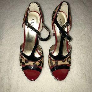 Guess Red & Cheetah Print Heels
